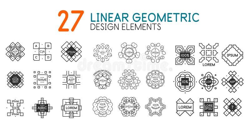 Wektorowa kolekcja liniowi geometryczni monogramy dla twój teksta royalty ilustracja
