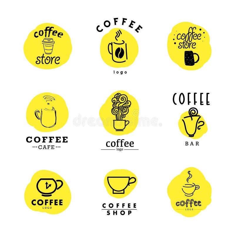 Wektorowa kolekcja mieszkanie i ręka rysujący kawowy logo royalty ilustracja