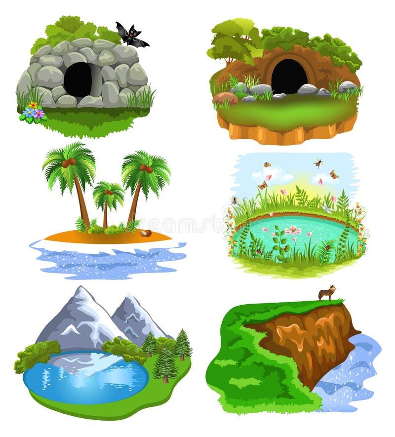 Wektorowa kolekcja natury klamerki sztuki ilustruje zwierzęcą jamę, melinę, wyspę, staw, jezioro i falezę, ilustracja wektor