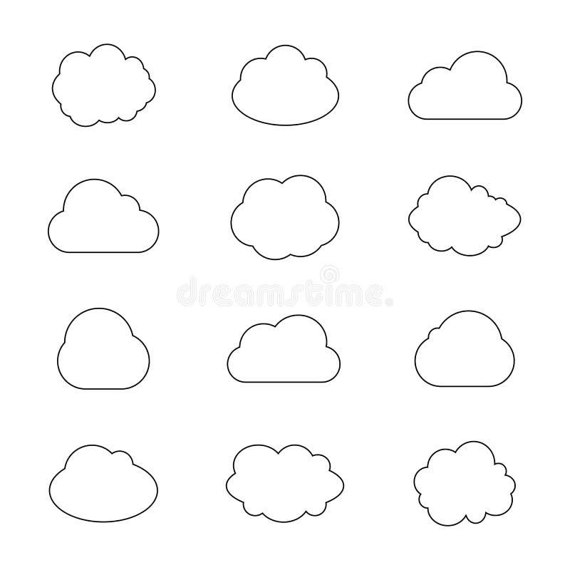 Wektorowa kolekcja Obłoczne sylwetki, kontur chmury, Graficzna sztuka, Odosobnione ikony ilustracja wektor