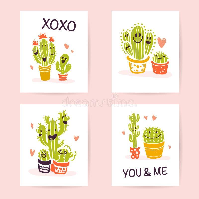 Wektorowa kolekcja płaskie śliczne miłość karty z śmieszna ręka rysującymi kaktusów portretami i ikonami, piszący list gratulacje ilustracja wektor