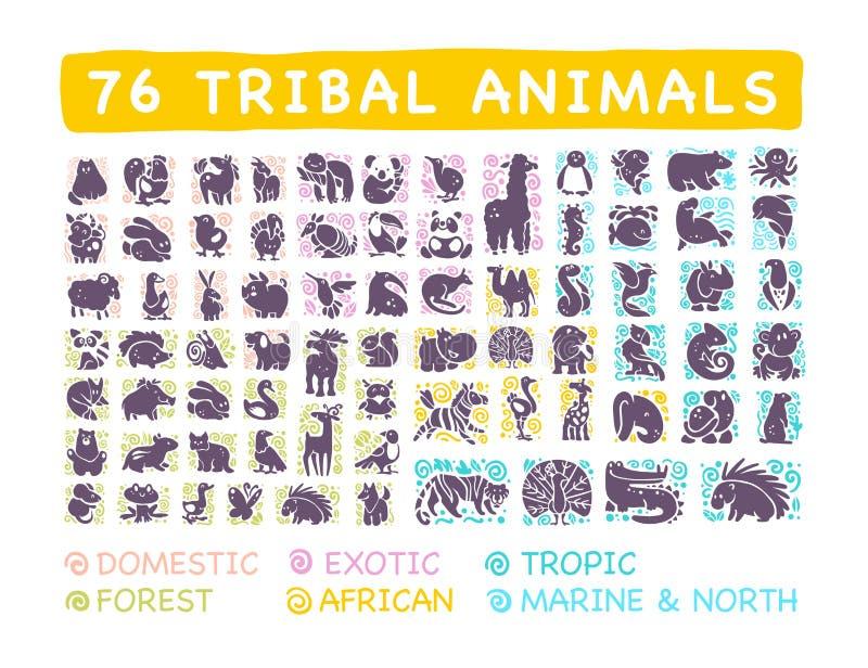 Wektorowa kolekcja płaskie śliczne plemienne zwierzęce ikony z ręka rysującym ornamentem odizolowywającym na białym tle ilustracji