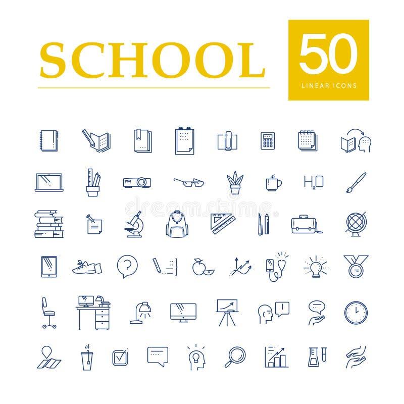 Wektorowa kolekcja płaskie proste liniowe edukacj ikony odizolowywać na białym tle royalty ilustracja