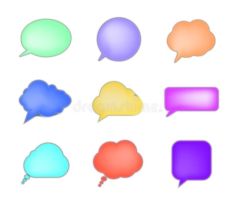 Wektorowa kolekcja Pastelowych kolorów 3D rozmowy bąble Odizolowywający na Białym tle, Delikatni kolory ilustracja wektor