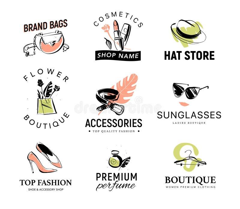 Wektorowa kolekcja różny modny dama logo dla sklepu, butik, kosmetyki & kapeluszowy sklep akcesorium & odzieży, aromata & buta, royalty ilustracja