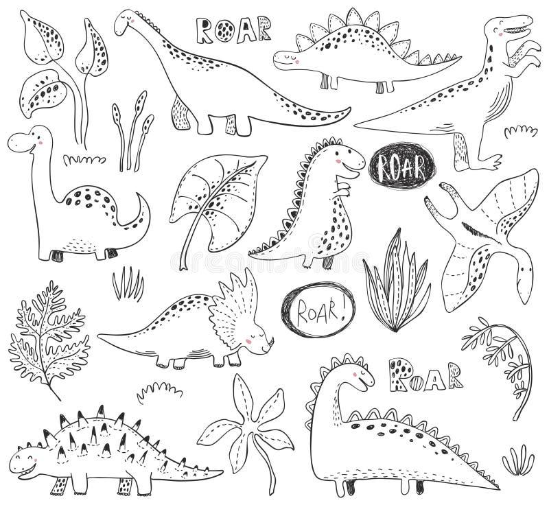 Wektorowa kolekcja ręka rysujący dinosaury, tropikalni liści drzewa i rośliny, royalty ilustracja