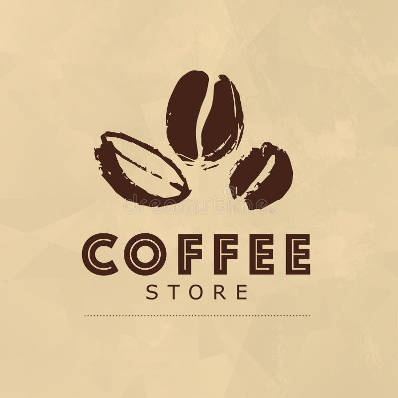 Wektorowa kolekcja ręka rysujący kawowi loga projekta elementy odizolowywający na papierze textured tło royalty ilustracja
