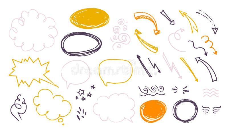 Wektorowa kolekcja ręka rysujący textured nakreślenia doodle elementy - tekst szybko się zwiększać, mowa bąble, teksta pudełko, s royalty ilustracja