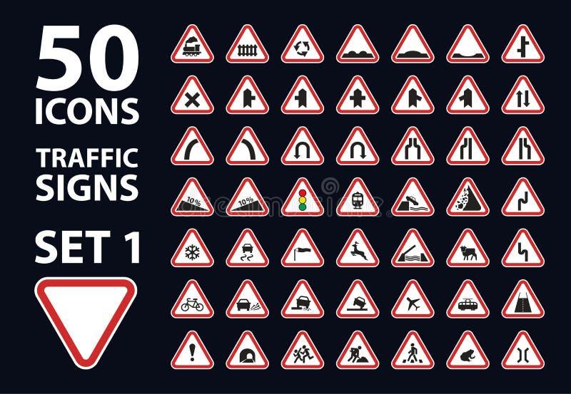 Wektorowa kolekcja ruchu drogowego znaka ostrzegawczego trójboka czerwona droga ustawia 1 ilustracja wektor