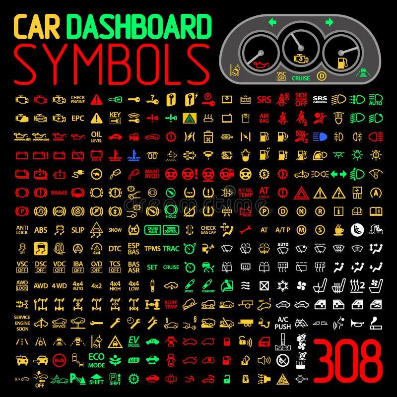 Wektorowa kolekcja samochodowi deska rozdzielcza panelu wskaźniki i ostrzegawczy światła royalty ilustracja