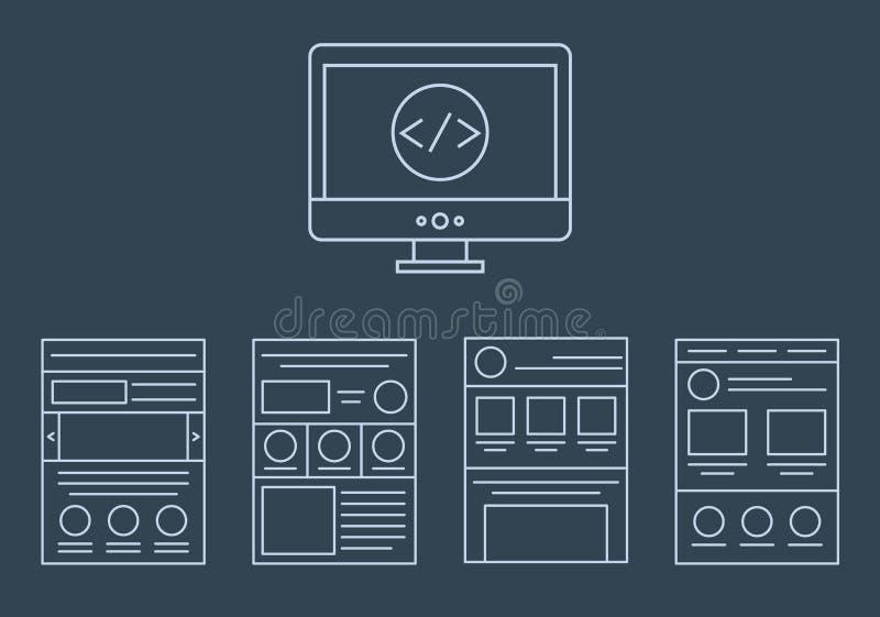 Wektorowa kolekcja sieć rozwoju ikony - html ilustracja wektor