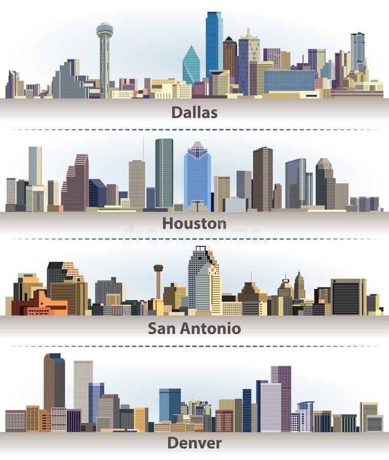Wektorowa kolekcja Stany Zjednoczone miasta linie horyzontu: Dallas, Houston, San Antonio i Denver, ilustracja wektor