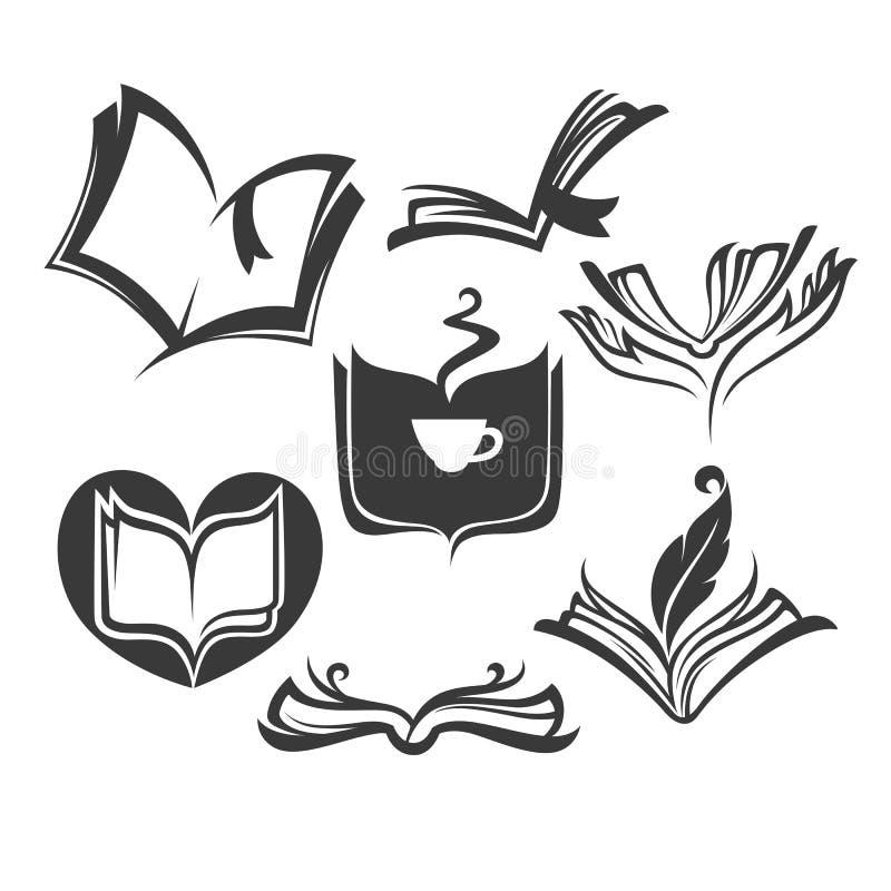Wektorowa kolekcja stare książki, czytanie i writing symbole, royalty ilustracja