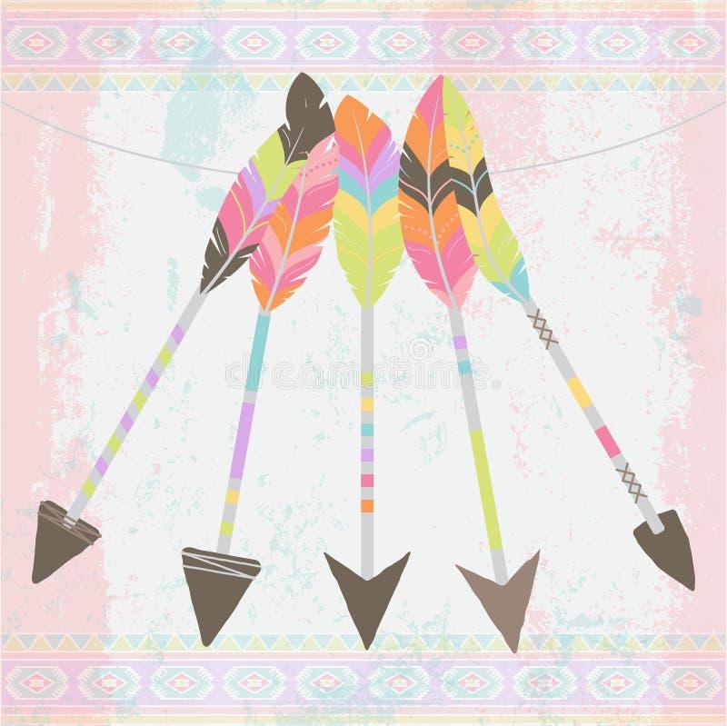 Wektorowa kolekcja Stylizowane Plemienne Piórkowe strzała royalty ilustracja