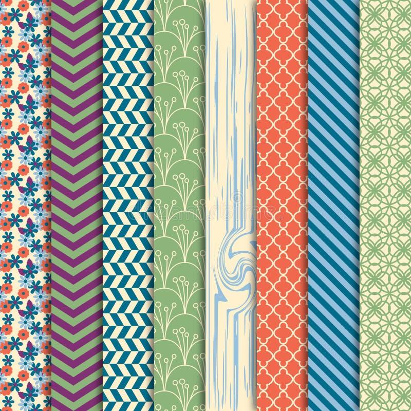 Wektorowa kolekcja tła lub Digital papiery Jaskrawi i Kolorowi royalty ilustracja