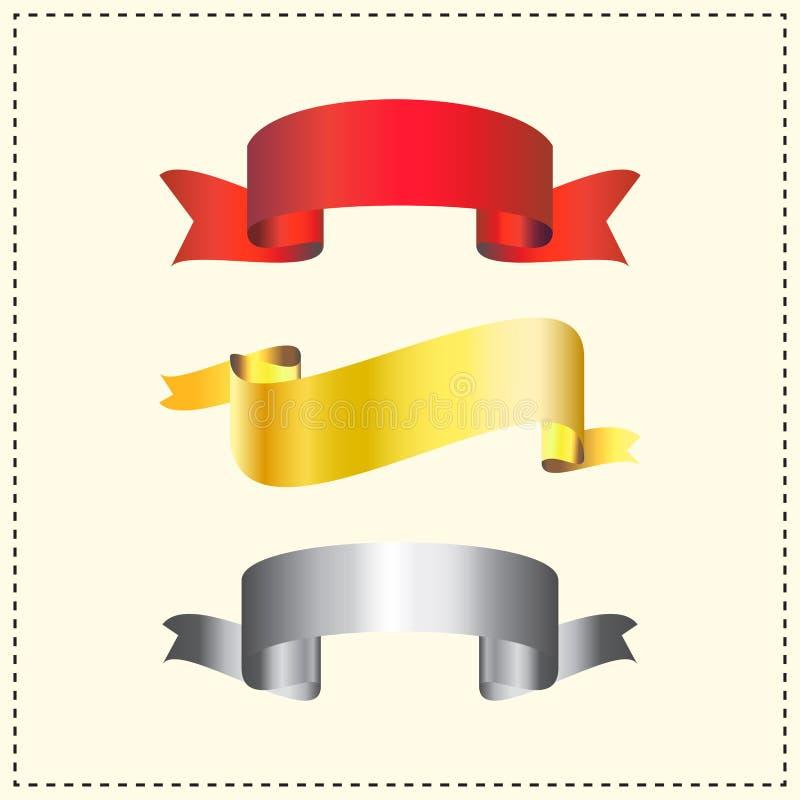 Wektorowa kolekcja tasiemkowi sztandary w czerwonym złocie i srebrze royalty ilustracja