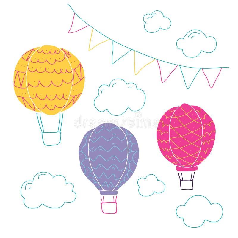 Wektorowa kolekcja z lotniczymi balonami ilustracja wektor