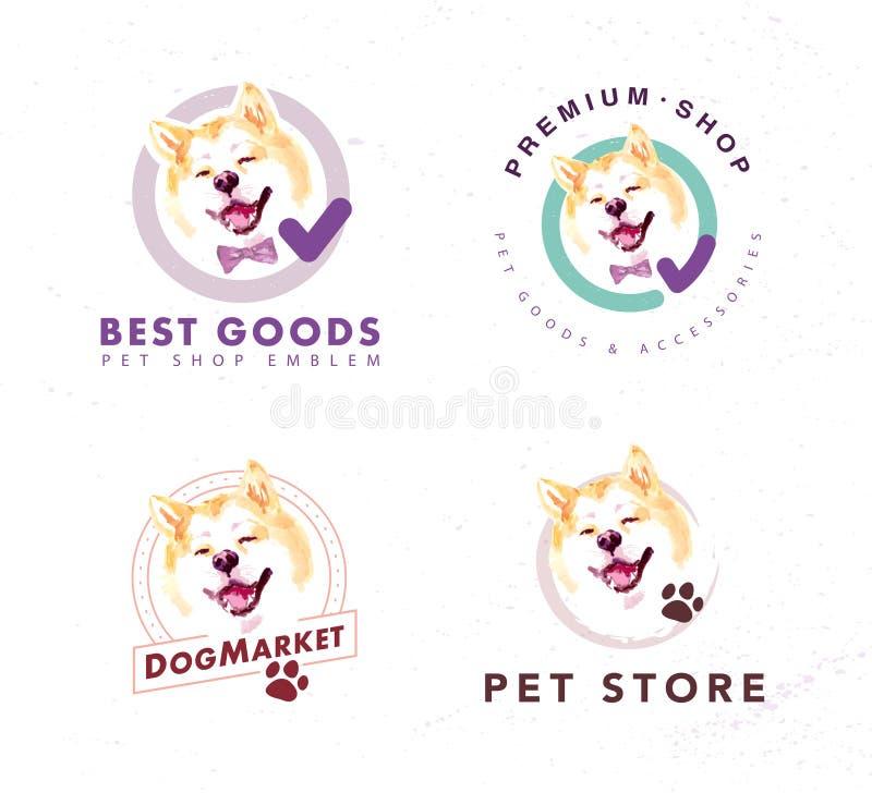 Wektorowa kolekcja zwierzę domowe sklepu & sklepu loga insygnia z artystyczna ręka rysującym akwareli Akita psem ilustracji