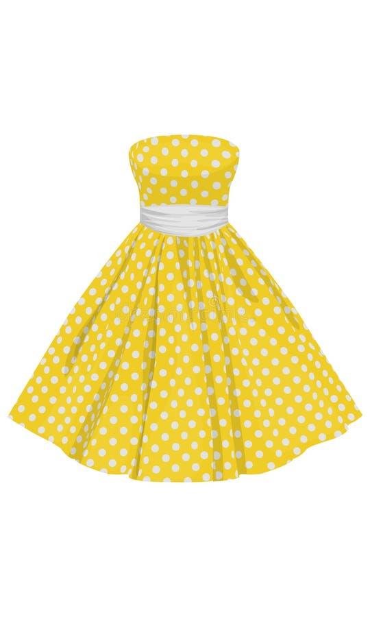Wektorowa kolor żółty suknia z białymi polek kropkami ilustracja wektor