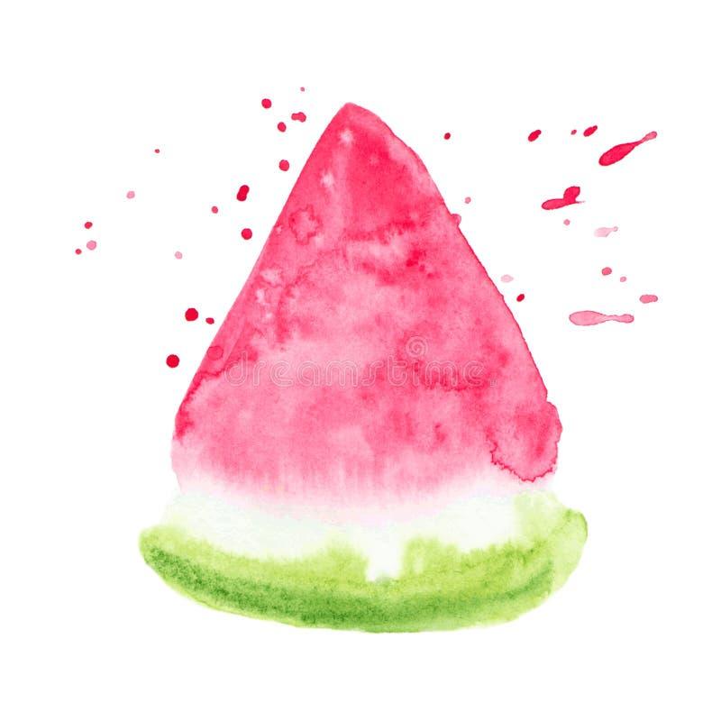 Wektorowa kolor farby arbuza tekstura odizolowywająca na bielu ilustracja wektor