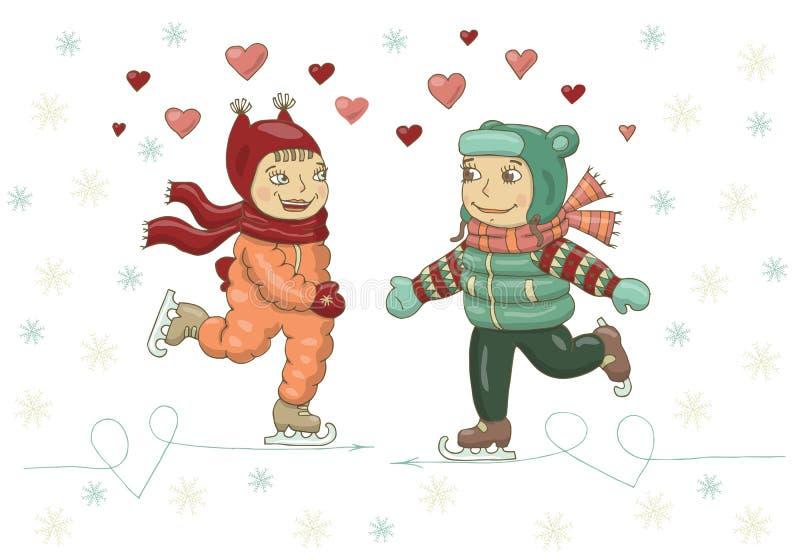 Wektorowa kolor ilustracja dziewczyna i chłopiec łyżwiarstwo na lodzie Walentynka dzień, boże narodzenia, nowy rok, pocztówka, de ilustracja wektor