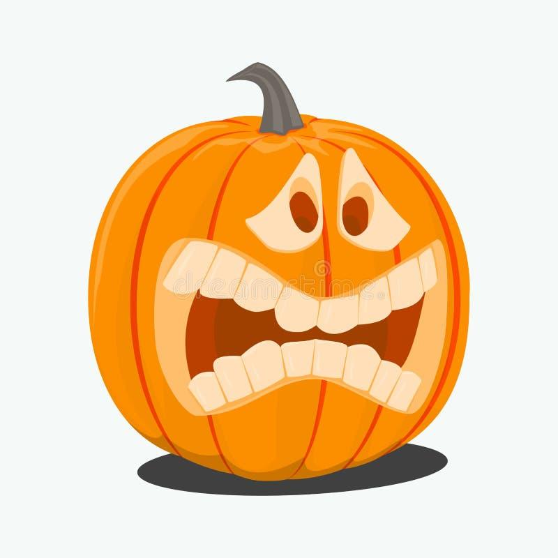 Wektorowa kolor ilustracja kreskówki Halloweenowa bania z twarzą na białym tle Przedmiota wizerunek tworzyć oryginał royalty ilustracja