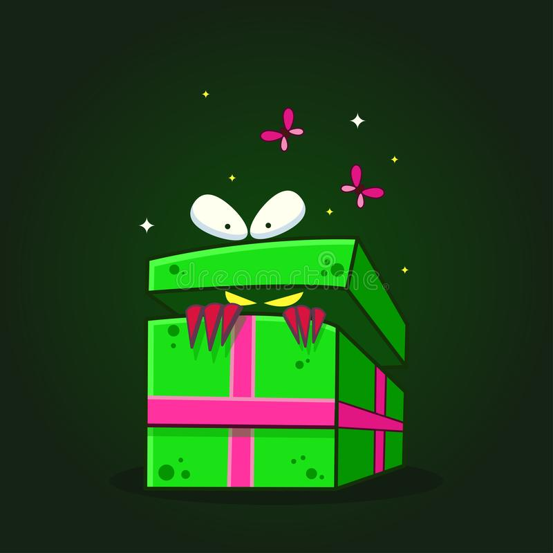 Wektorowa kolor ilustracja która patrzejący inside prezenta pudełko z twarzą na ciemnym tle - out kreskówka potwór, royalty ilustracja