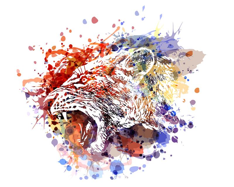 Wektorowa kolor ilustracja lwicy głowa ilustracja wektor