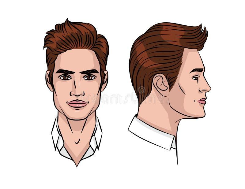 Wektorowa kolor ilustracja mężczyzna ` s twarz royalty ilustracja
