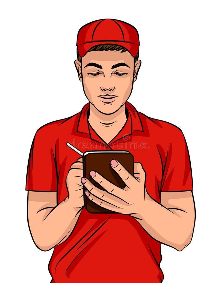 Wektorowa kolorowa ilustracja młody facet w doręczeniowym mundurze z notatnikiem i piórem ilustracja wektor