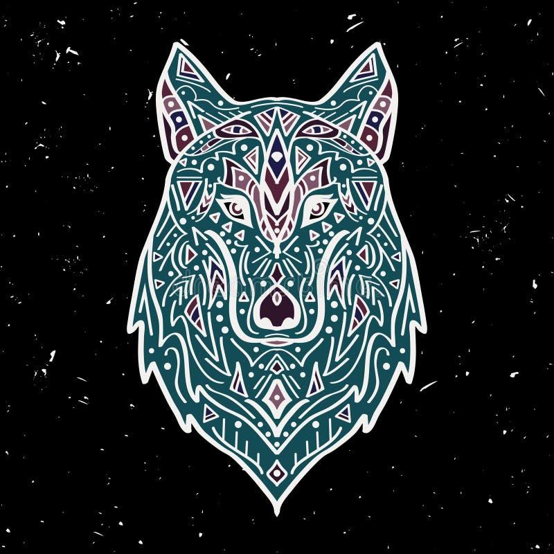 Wektorowa kolorowa ilustracja plemienny stylowy wilk z etnicznymi ornamentami ilustracja wektor