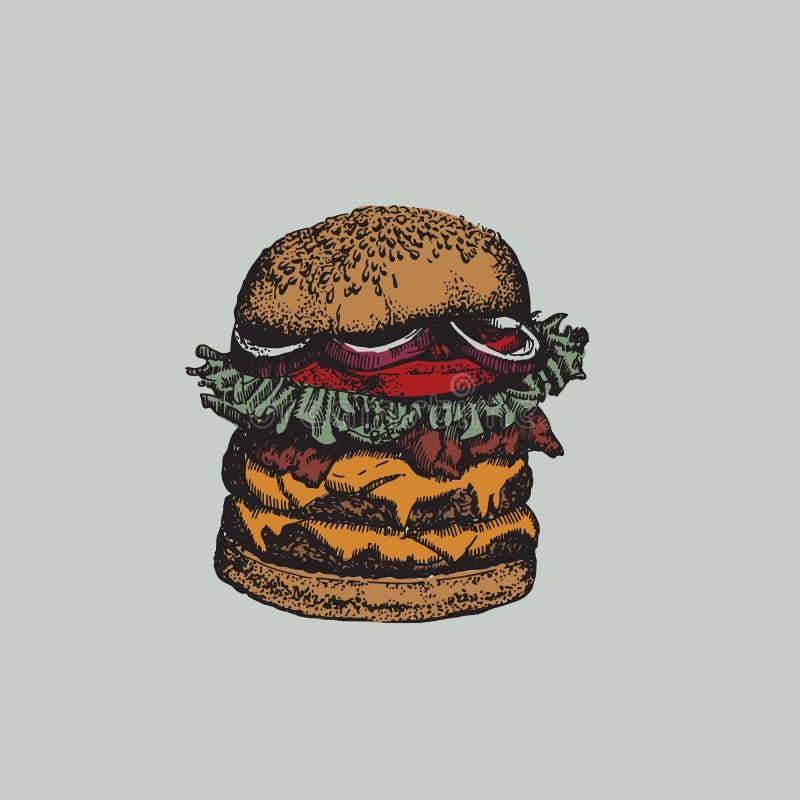 Wektorowa kolorowa ilustracja robić w ręka rysującym nakreślenie stylu duży hamburger ilustracji