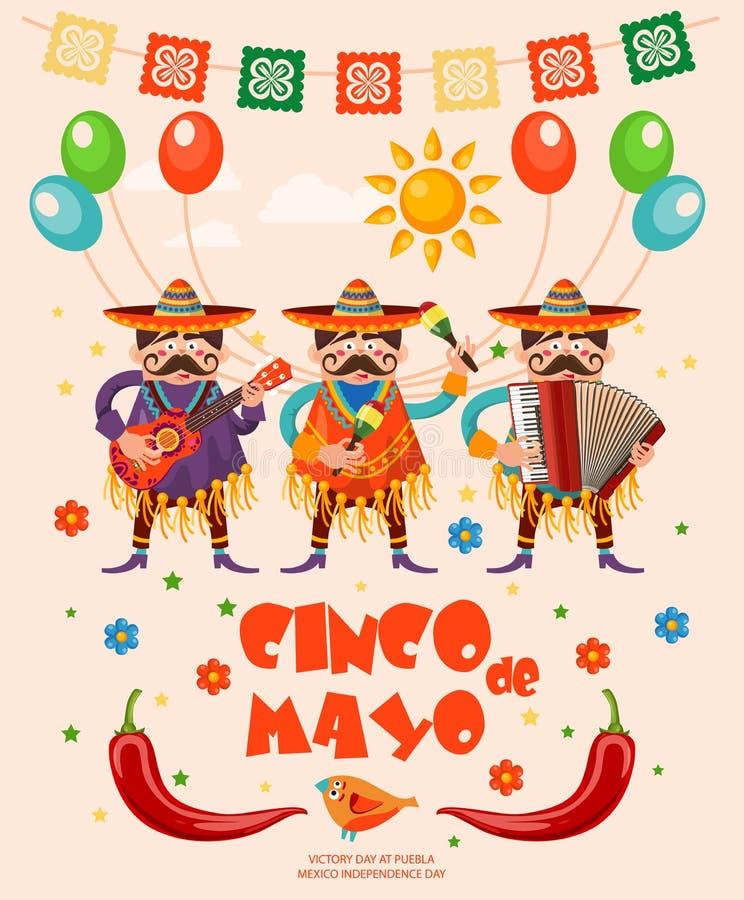 Wektorowa kolorowa karta o Meksyk cinco de Mayo Podróż plakat z meksykańskimi rzeczami royalty ilustracja