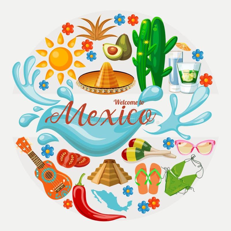 Wektorowa kolorowa karta o Meksyk okręgu kształt kolorowe styl mexico viva Podróż plakat z meksykańskimi rzeczami ilustracji