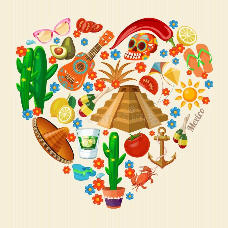 Wektorowa kolorowa karta o Meksyk serce odizolowane kształtu white pomidorowego Rerto styl mexico viva Podróż plakat z meksykańsk royalty ilustracja