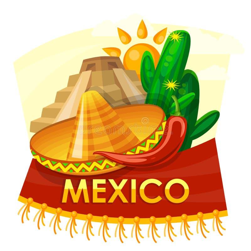 Wektorowa kolorowa karta o Meksyk z kaktusem i sombrero cinco de Mayo Podróż plakat z meksykańskimi rzeczami ilustracji