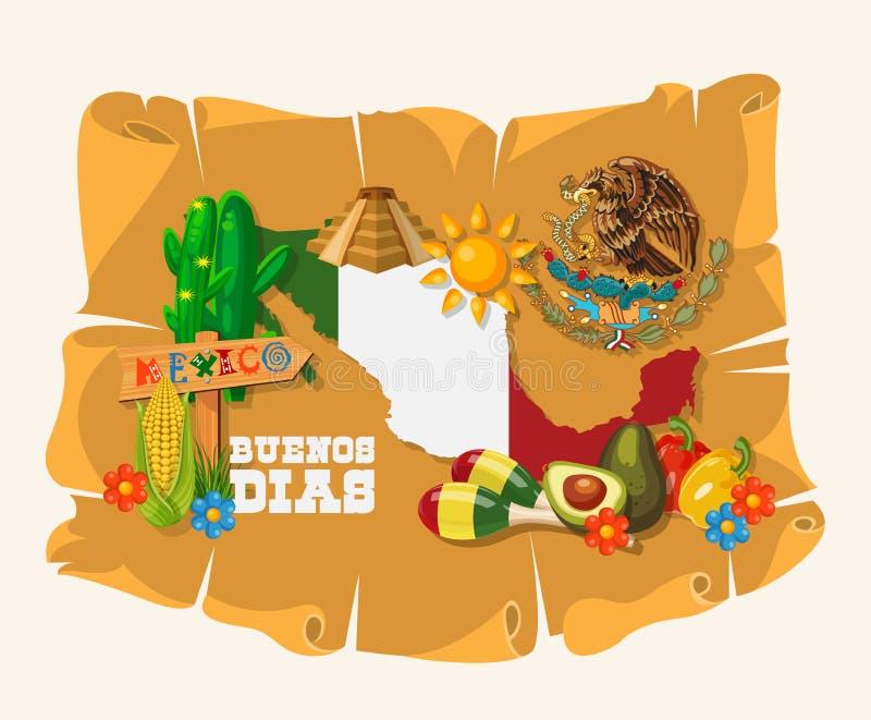 Wektorowa kolorowa karta o Meksyk z meksykańską mapą cinco de Mayo Podróż plakat z meksykańskimi rzeczami royalty ilustracja