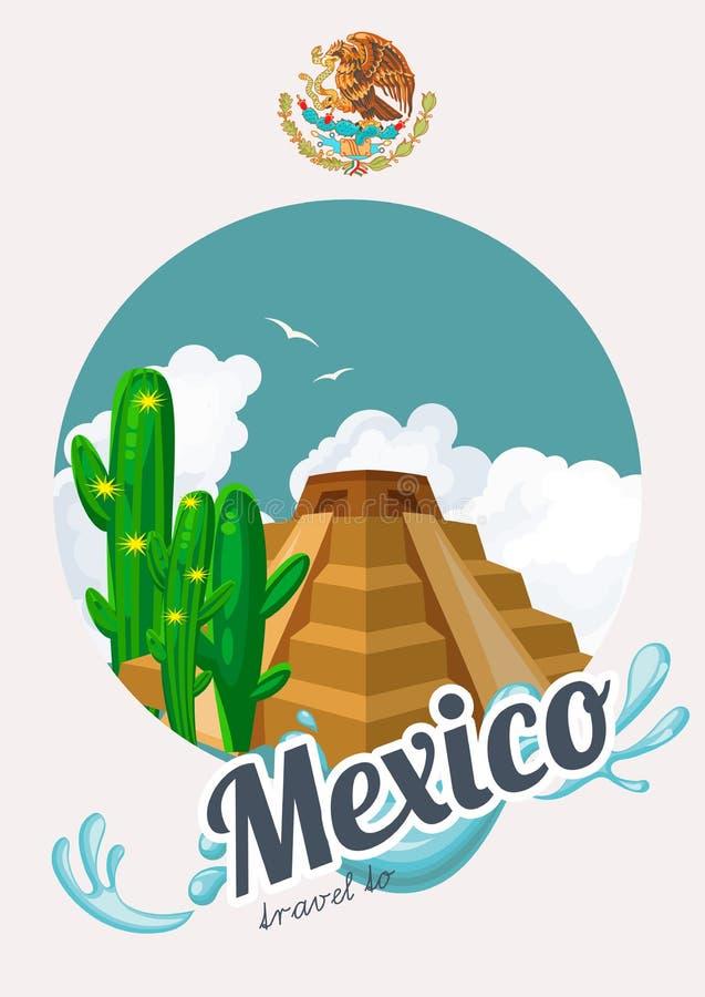 Wektorowa kolorowa karta z ostrosłupem o Meksyk Podróż Meksyk mexico viva Podróż plakat z meksykańskimi rzeczami royalty ilustracja