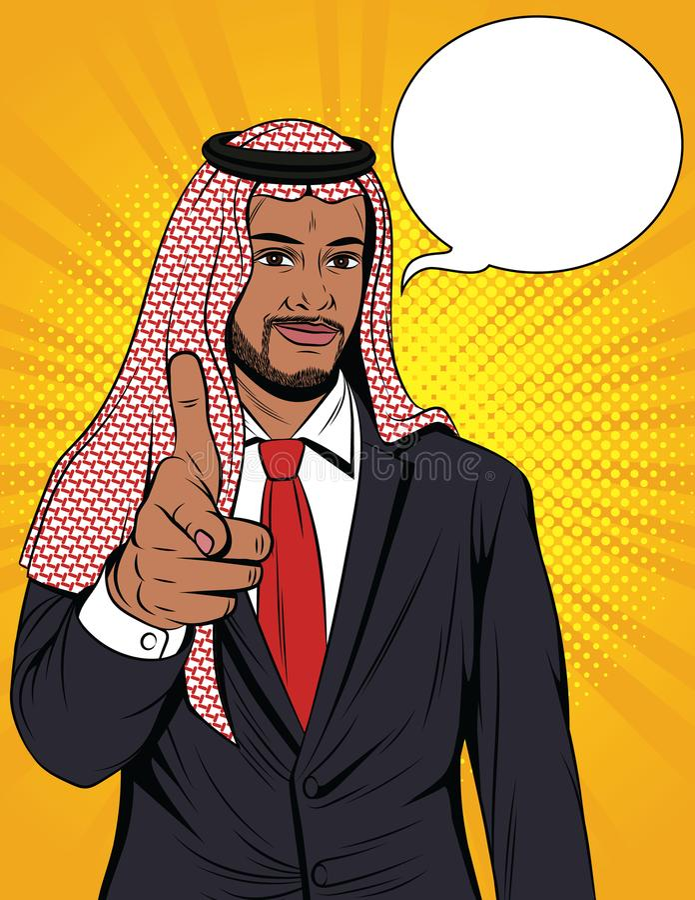 Wektorowa kolorowa komiczka stylu ilustracja arabski biznesmen wskazuje przy tobą ilustracja wektor