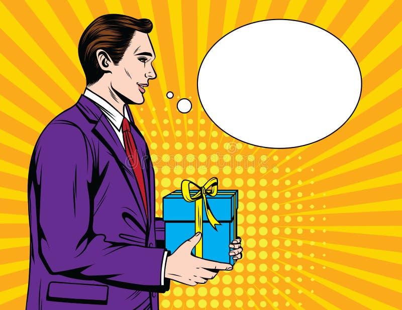 Wektorowa kolorowa komiczna wystrzał sztuki stylu ilustracja urzędnik zostaje w profilu z prezenta pudełkiem przy jego ręki ilustracji