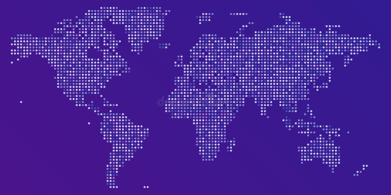 Wektorowa kolorowa kropkowana mapa świat royalty ilustracja