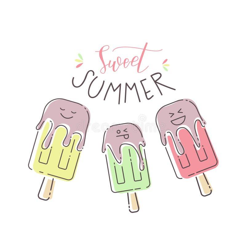 Wektorowa kolorowa lato ilustracja z lody mrówki tekstem royalty ilustracja