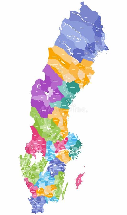 Wektorowa kolorowa mapa Szwecja zarząd miasta barwił okręgami administracyjnymi ilustracji