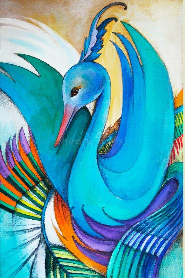 Wektorowa kolorowa ręka rysujący łabędź ilustracja wektor