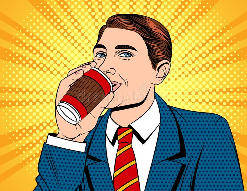 Wektorowa kolorowa wystrzał sztuki komiczki stylu ilustracja biznesmen w pić kawę ilustracja wektor