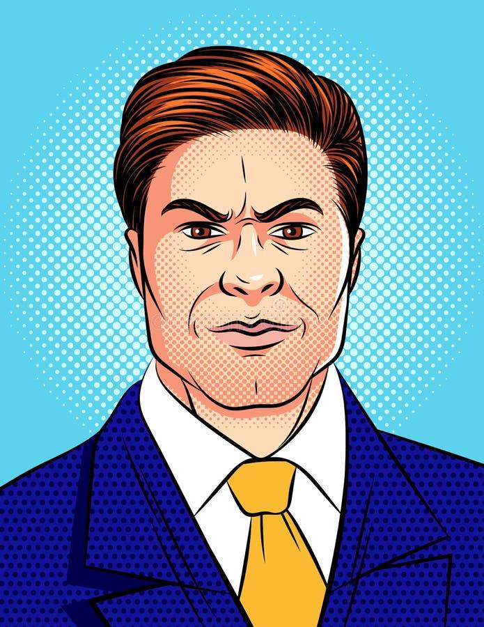 Wektorowa kolorowa wystrzał sztuki komiczki stylu ilustracja gniewna mężczyzna ` s twarz odizolowywająca od błękitnego kropki tła ilustracji