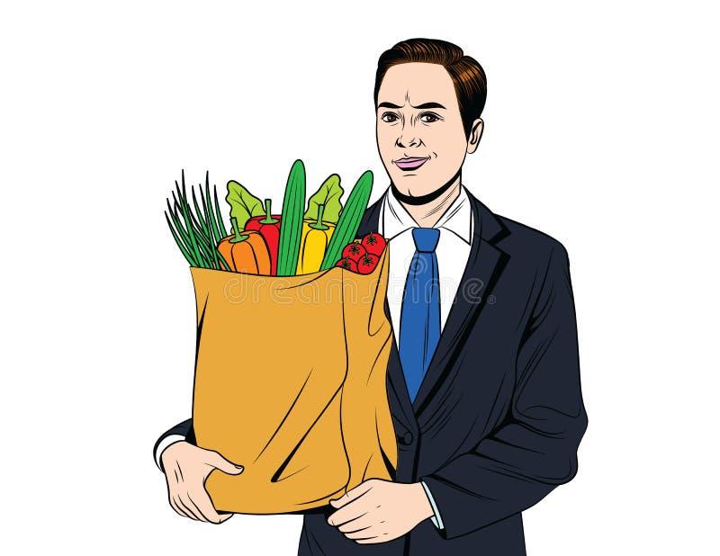 Wektorowa kolorowa wystrzał sztuki stylu ilustracja młody przystojny facet z pełną papierową torbą warzywa royalty ilustracja