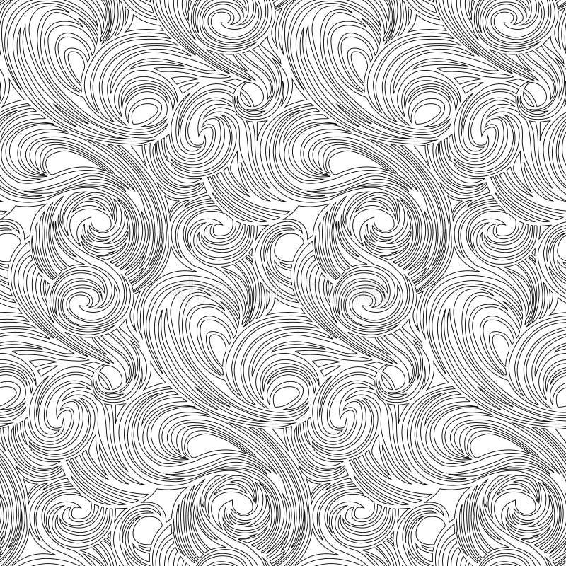 Wektorowa kolorystyki książka dla, medytacja, dato che i relaksujemy Bezszwowego wzoru gładkie linie jak fale Czarny i biały imag royalty ilustracja
