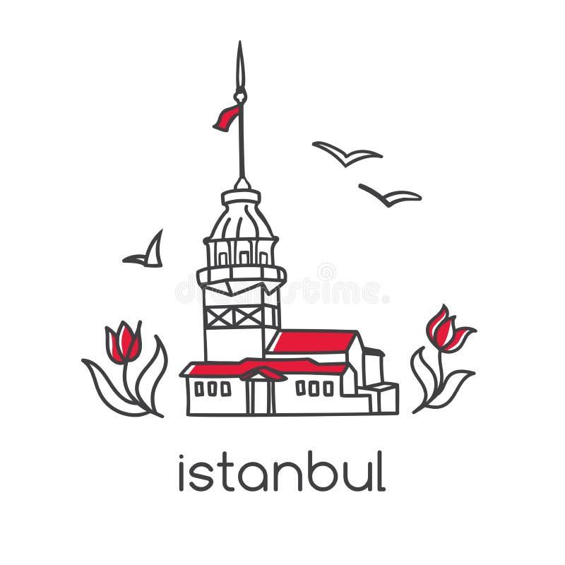 Wektorowa kontur ilustracja z Istanbuł symbolu dziewczyny wierza royalty ilustracja