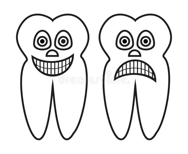 Wektorowa kontur kreskówki ilustracja zdrowy ząb i przegniły ząb ilustracji